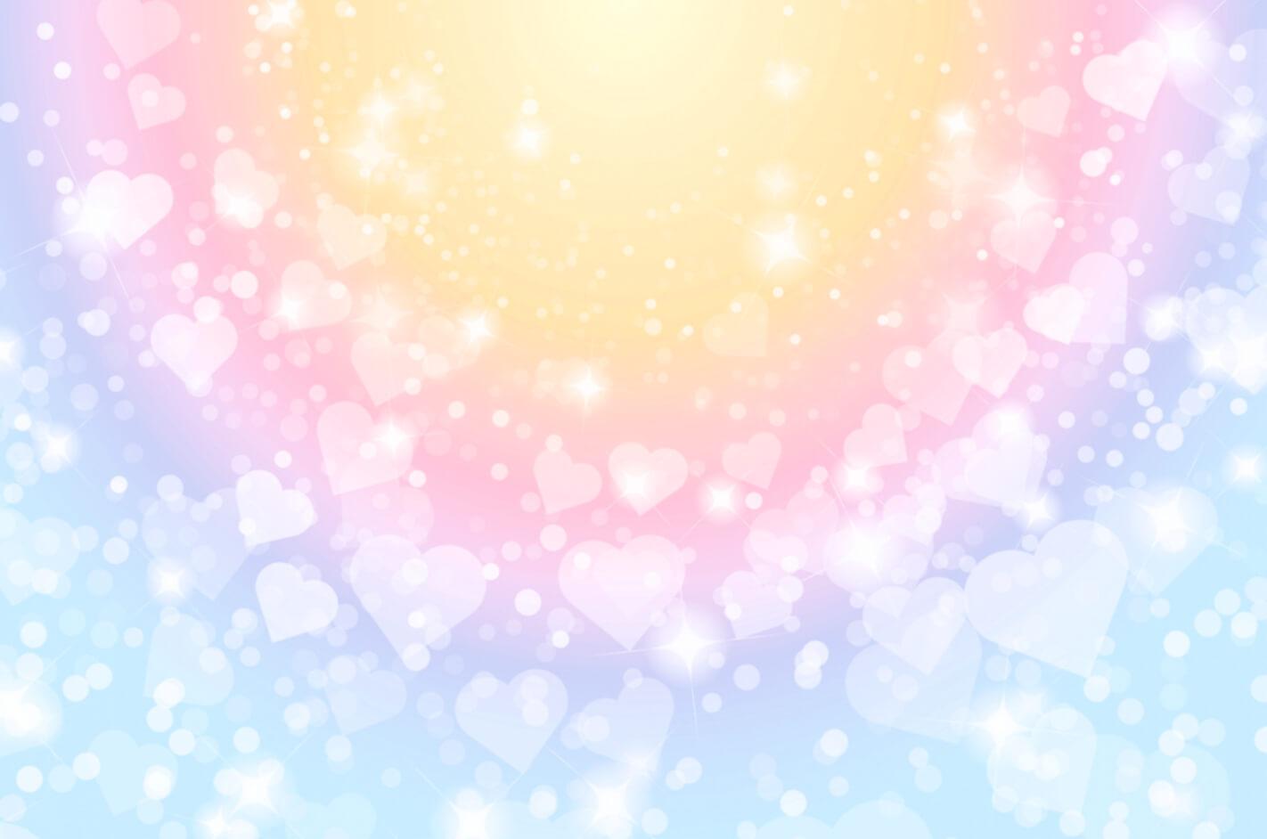 七色の光の中で輝くハート