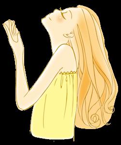 レイキのエネルギーを感じる黄色い服の女性