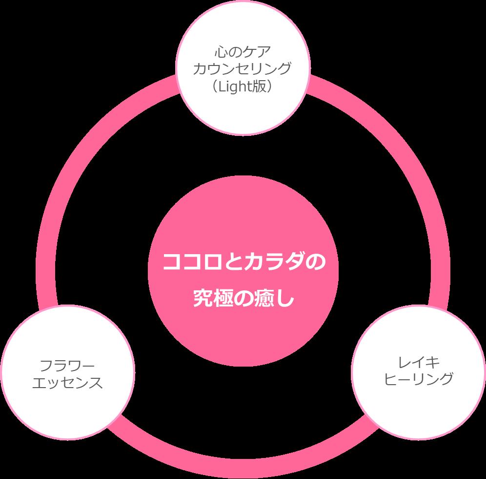 レイキヒーリング・フラワーエッセンスワークショップの三位一体図