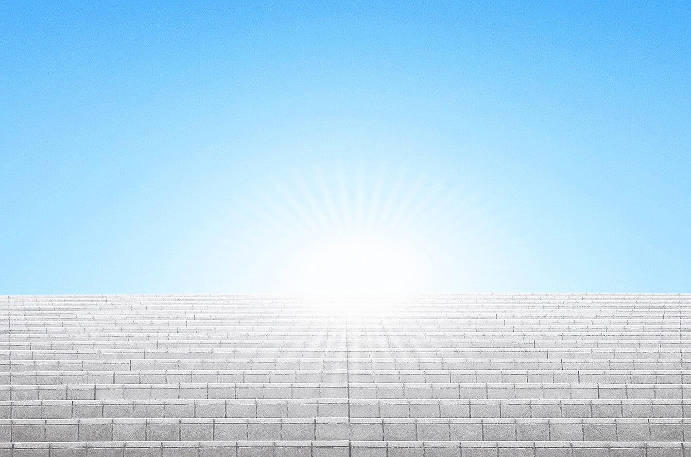 ステップアップの階段と光のイメージ